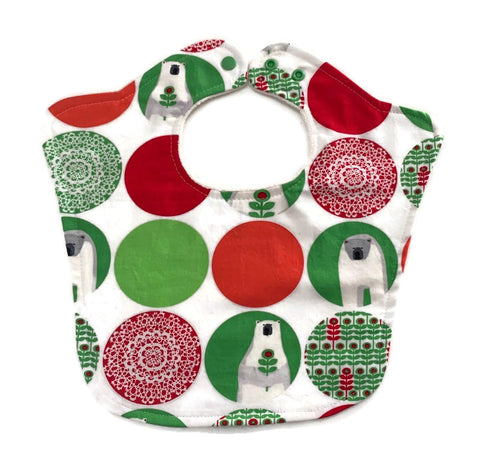 Winter Holiday Polar Bears Premium Designer Baby Bib