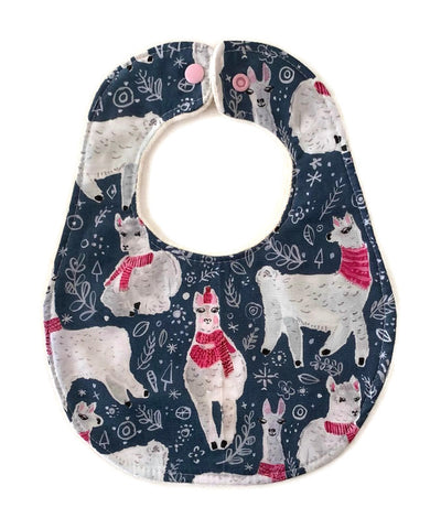 Winter Llamas Newborn Bib
