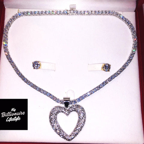 Silver Open Heart on Thin Bling Chain Billionaire Box
