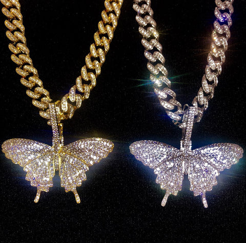 Butterfly on Ladies Cuban Link Chain