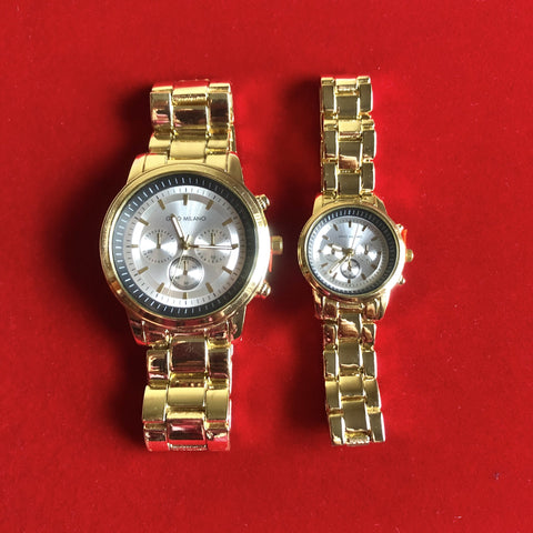 His and Hers Watch Set - Gold with Silver face