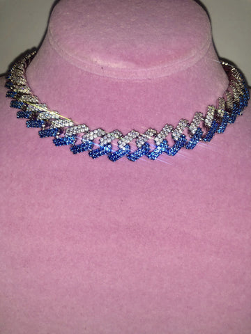 Silver Prong Link Choker with Blue and Clear Stones