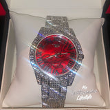 Silver Bling Watch with Red Marble Face