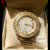 Icy Bezel Watch with White Face
