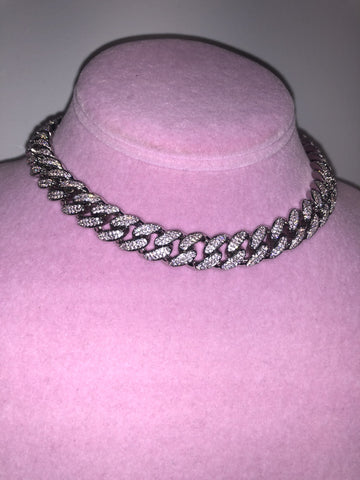 Ladies Thin Bling C Link Choker (Silver with Pink Stones)