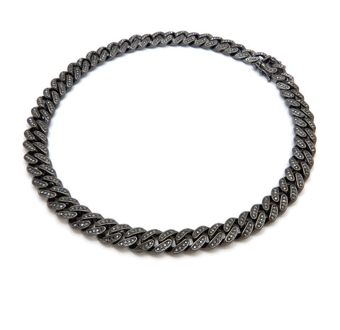 Black Cuban Link Chain with Black Stones