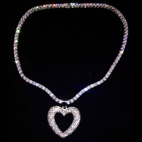 Silver Open Heart on Thin Bling Chain