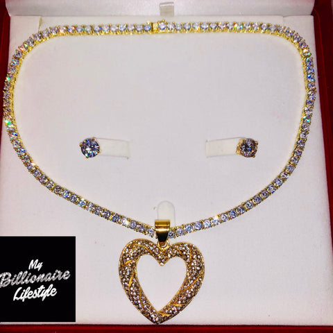 Gold Open Heart on Thin Bling Chain Billionaire Box