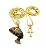 Mini Ankh / Black and Gold Nefertiti Set
