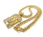 Jesus Piece on Bling Cuban Link chain (Large)