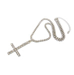 Inverted Cross on Bling Chain (Silver)