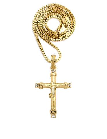 Crucifix with Stones (Gold)
