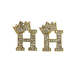 Crown Letter Earring (Gold)