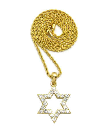 Open Star of David on Rope Chain