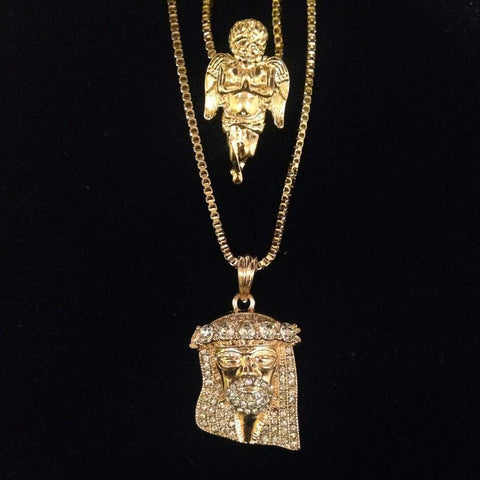 Angel / Bling Jesus with Stones in Crown Set