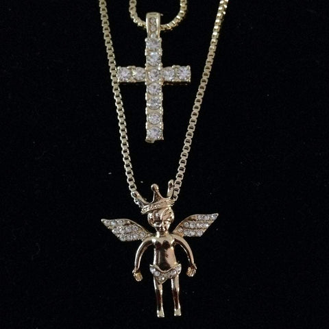 Angel with Crown / Bling Cross Set