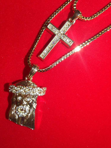 Gold Cross / Jesus Piece Set
