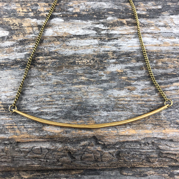 Brass Bar Necklace - Wide