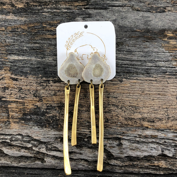 Antler Brass Stud Earrings