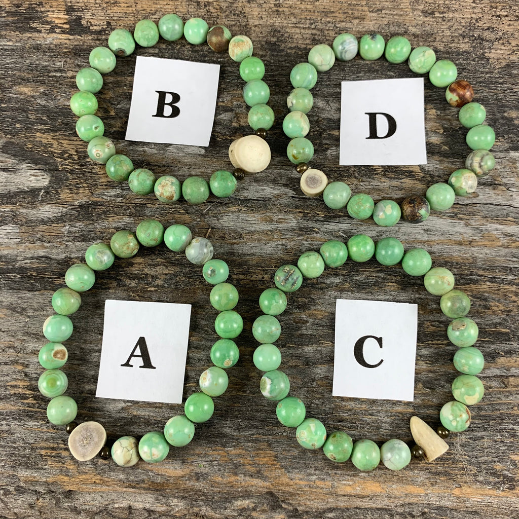 Antler & Chrysoprase Essential Oil Bracelet - Medium
