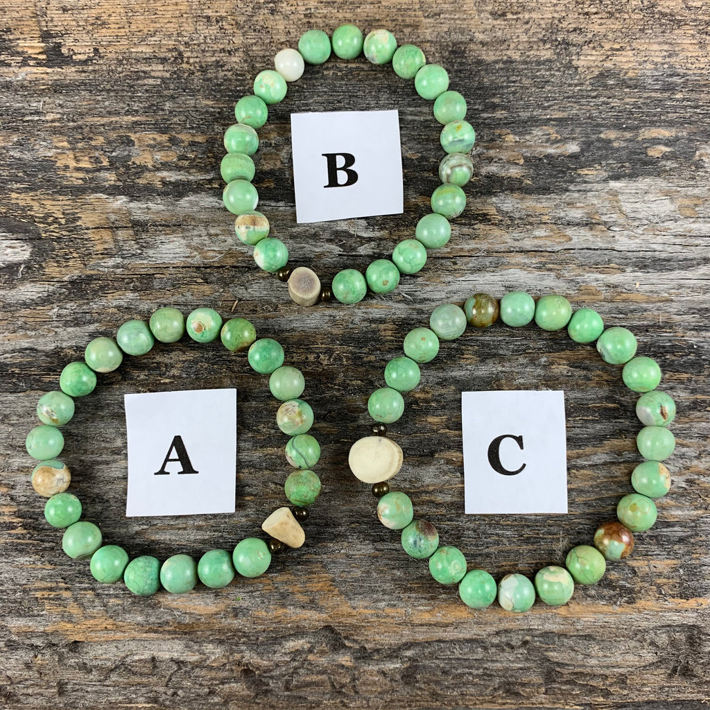 Antler & Chrysoprase Essential Oil Bracelet - Large