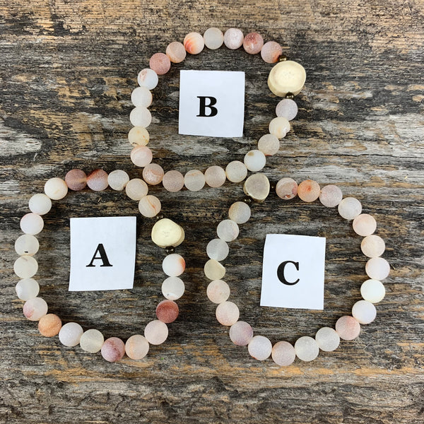 Antler & Peach Agate Essential Oil Bracelet - Large