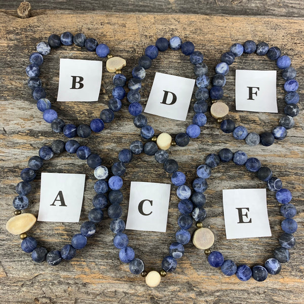 Antler & Matte Lapis Essential Oil Bracelet - Medium