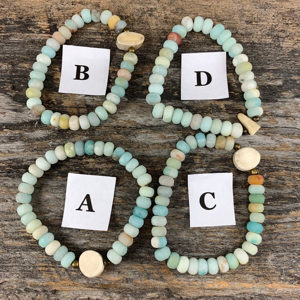 Antler & Matte Amazonite Essential Oil Bracelet - Large