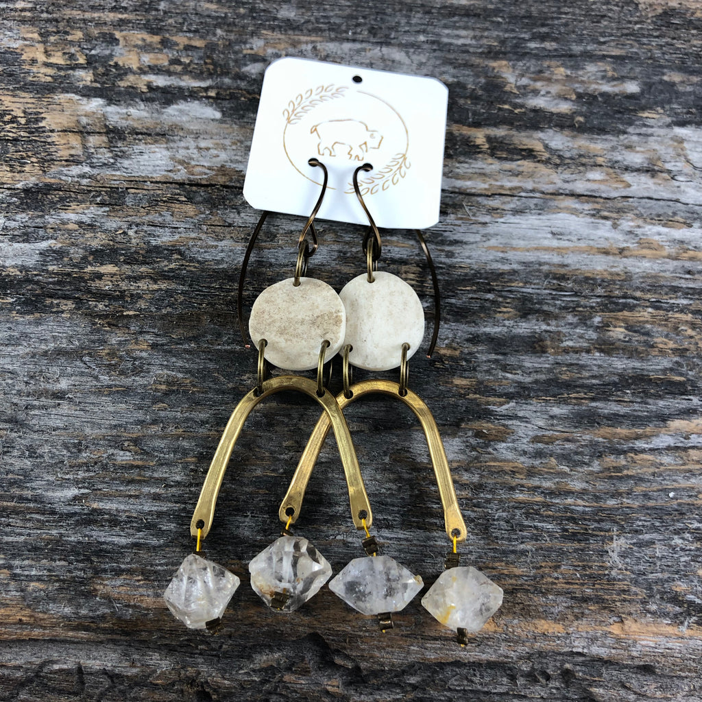Moondrop Earrings - Herkimer Quartz