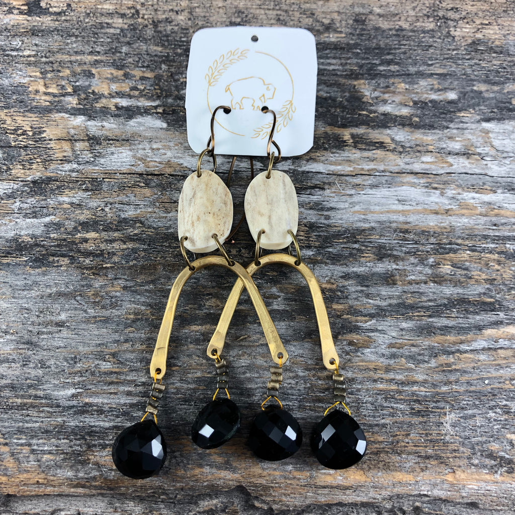 Moondrop Earrings - Black Spinel
