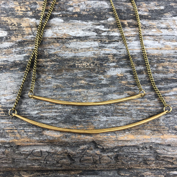 Brass Bar Necklace - Narrow