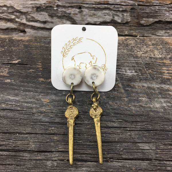 Antler Stud Earrings with Brass