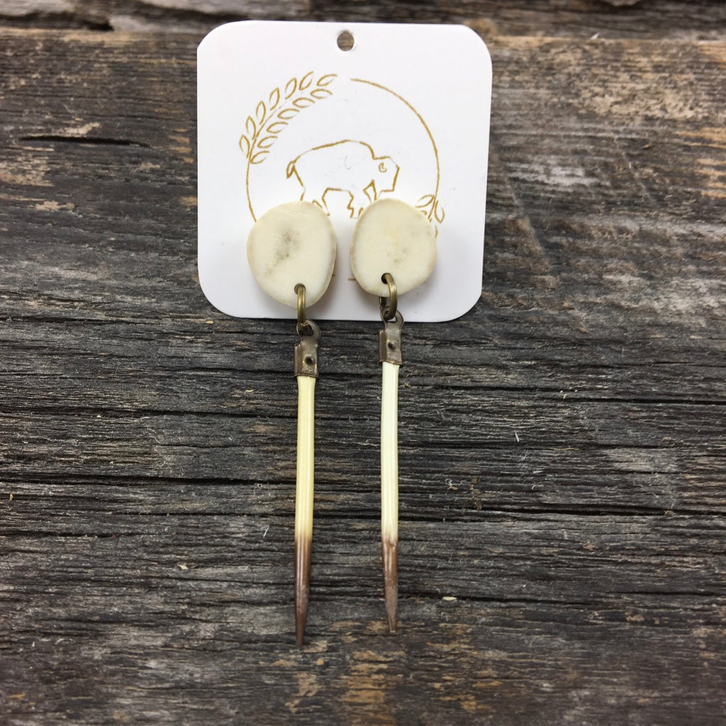 Antler Stud Earrings with Quills
