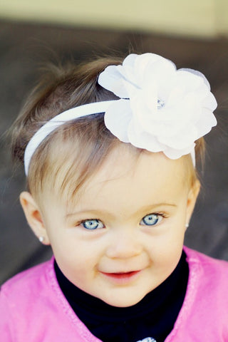 White Baby Flower Headband Infant Flower Headband