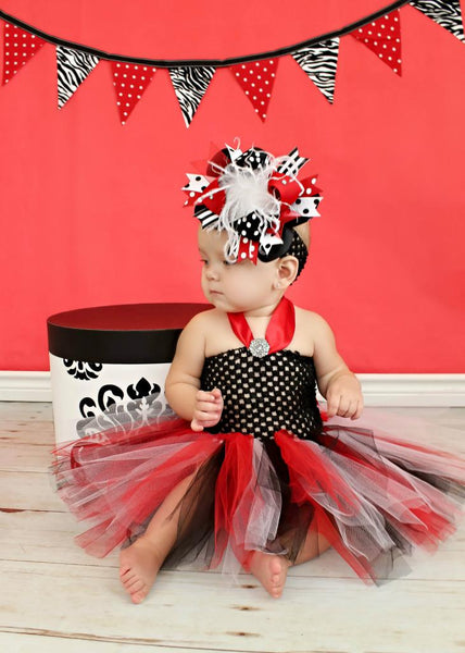 Red and Black Over The Top Hair Bow, Red and Black Headband