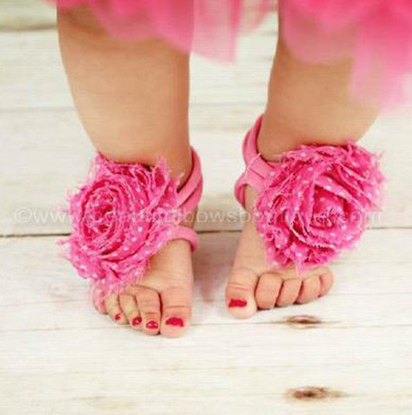 Buy Hot Pink Swiss Dot Chiffon Fabric Flower Barefoot Baby Sandals ...
