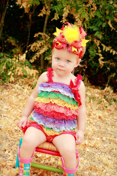 Over the Top Orange Yellow and Red Girls Big Hair Bow Clip or Headband