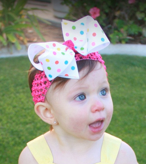 Spring Dots Girls Hair Bow Clip or Headband