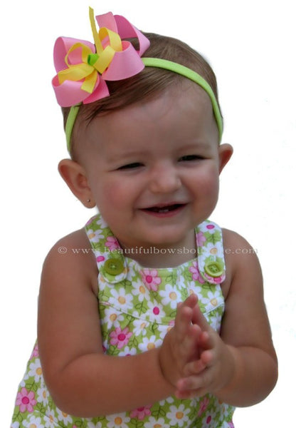 Dainty Pink Yellow & Green Girls Hair Bow Clip or Headband