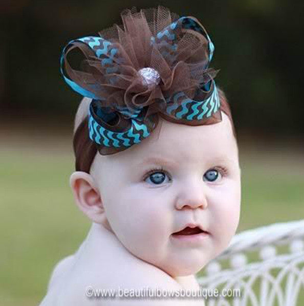 Turquoise and Brown Tulle Girls Hair Bow or Baby Headband