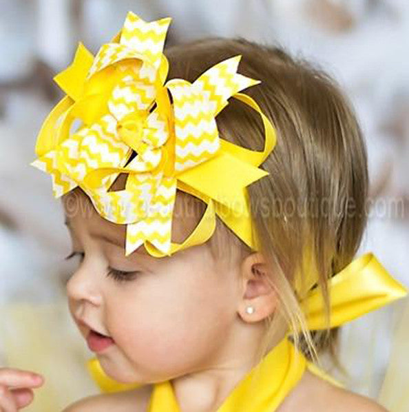 Yellow and White Chevron Kiara Girls Hair Bow Clip or Headband