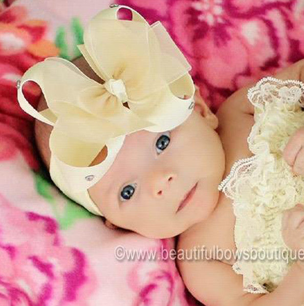 Elegant Sheer Ivory Bling Infant Baby Bow Headband