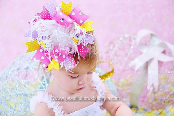 Buy Chick Egg Big Over the Top Pastel Easter Hair Bow Clip or Baby Headband Online
