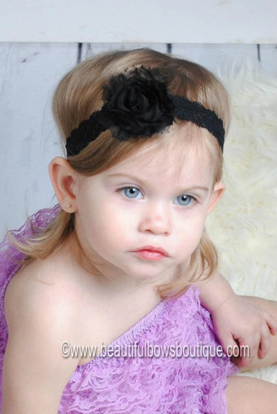 Buy Shabby Black Infant Toddler Vintage Flower Lace Headband Online