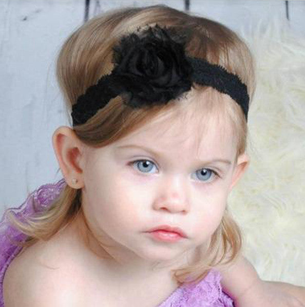 Shabby Black Infant Toddler Vintage Flower Lace Headband