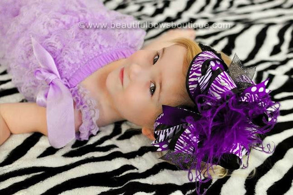 Girls Big Purple Zebra Over the Top Hair Bow Clip or Headband