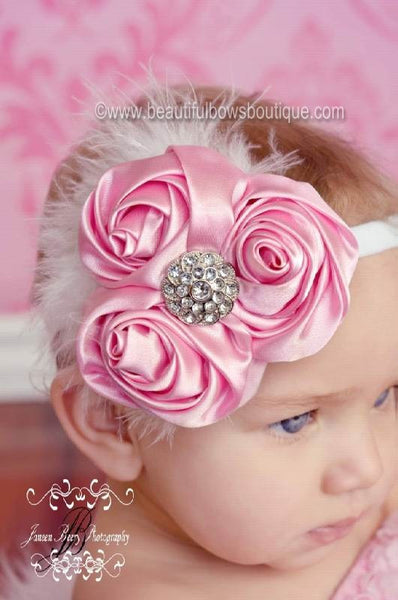 Sweet Pink and White Vintage Chiffon Rose White Baby Headband