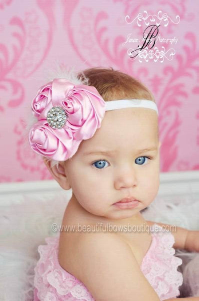 Buy Sweet Pink and White Vintage Chiffon Rose White Baby Headband Online