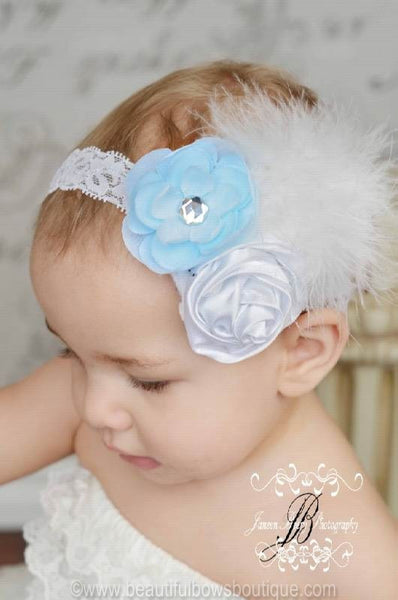Vintage Baby Blue & White Rosettes Madison White Feather Flower Girls Lace Headband