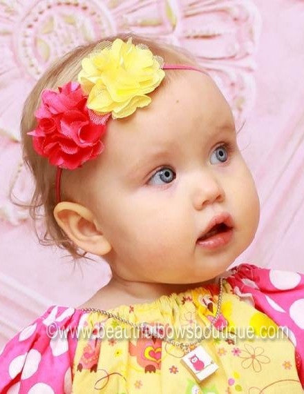 Satin Bella Yellow and Shocking Pink  Fabric Flower Bitty Headband
